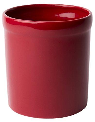 American Mug Pottery Ceramic Utensil Crock Utensil Holder, Made In Usa, Red