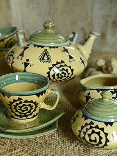 Cultural Concepts Warli Green Tea Set With Cane Handle - Set Of 15Pcs Multi