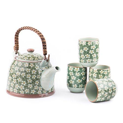 Green Oriental Porcelain Rosaceae Four-cups Tea Set