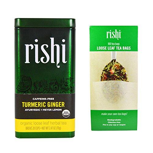 Rishi Tea - Turmeric Ginger Loose Herbal with Tea Filter Combo Pack