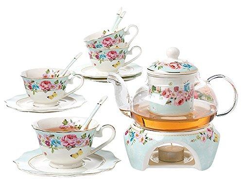 Jusalpha Fine China Flower Series Tea Set-Teacup Saucer Spoon Set with Teapot Warmer Filter 16 pcs in 1 set FDMM Glass pot set 04
