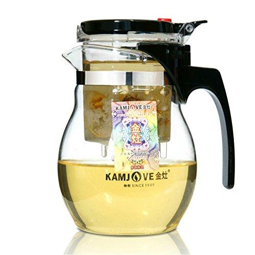 KAMJOVE Glass Gongfu Teapot Press AUTO-OPEN Art Tea Cup Teapot with filter TP-777 600ml