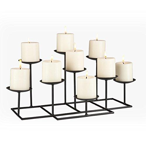 Southern Enterprises Candelabra Black Metal Frame Geometric Transitional 9 Candles Style