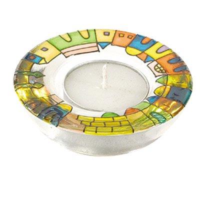 Shabbat Candlesticks Holders - Jewish Set - Yair Emanuel GLASS CANDLE HOLDER - JERUSALEM Bundle
