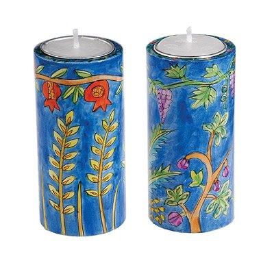 Shabbat Candlesticks Holders - Jewish Set - Yair Emanuel ROUND SHABBAT CANDLESTICKS SEVEN SPECIES LARGE Bundle
