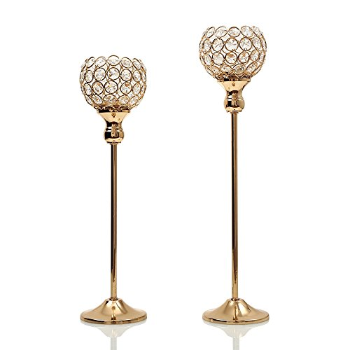 VINCIGANT Gold Crystal Tea Light Candle Stand Pillar for Home Decor Set of 2 Wedding Candelabra