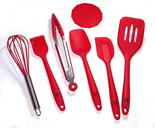 Pretty For Lifestyle Silicone 6 Pcs Kitchen Utensils Set (cherry Red) + Bonus 1 Pc Silicone Coaster