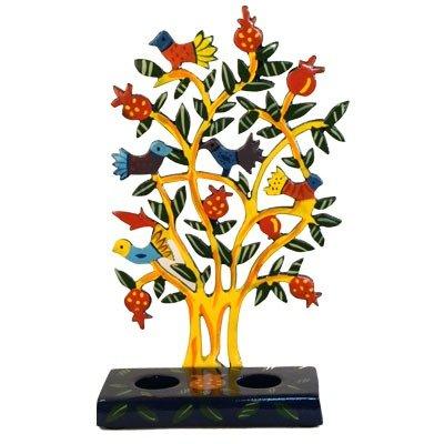 Emanuel Painted Metal Lazer Cut Shabbat Candlesticks - Birds CLC1A