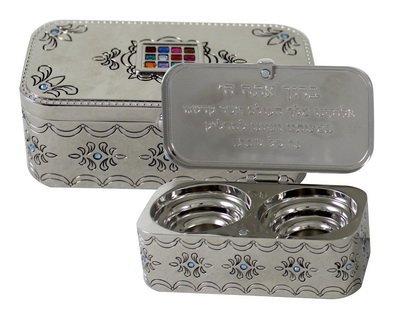 Judaica Nickel Travel Candlestick Shabbat Holiday Gift Hoshen Plate Engraved Hebrew Blessing