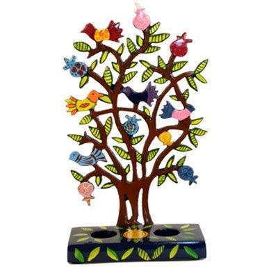Painted Metal Lazer Cut Shabbat Candlesticks - Pomegranate Tree