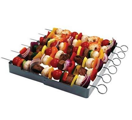 Stainless Steel-Heavy Duty Shish Kabob Maker 6-Pc Skewer - Shish Kabob Rack Grill Set for ALL Meats Vegetables-Over 2 Dozen Amazing Shish Kabob Recipes Interlocking Shish Kabob Skewers by MORE