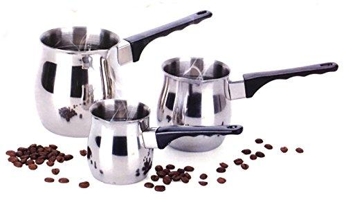 Turkish Coffee 3 Piece Stovetop Warmer Pot - 6oz 12oz 24oz Pots Stainless Steel