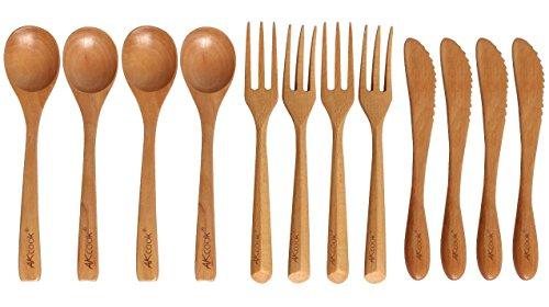 Akcook Cfcj003 Natural Wooden Flatware Sets, 12-piece Utensil Set With Knives Spoons Forks