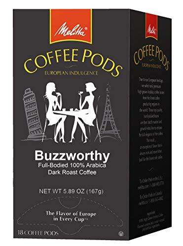 Melitta Coffee Pods for Senseo Hamilton Beach Pod Brewers Buzzworthy Dark Roast 18 Count Pack of 4
