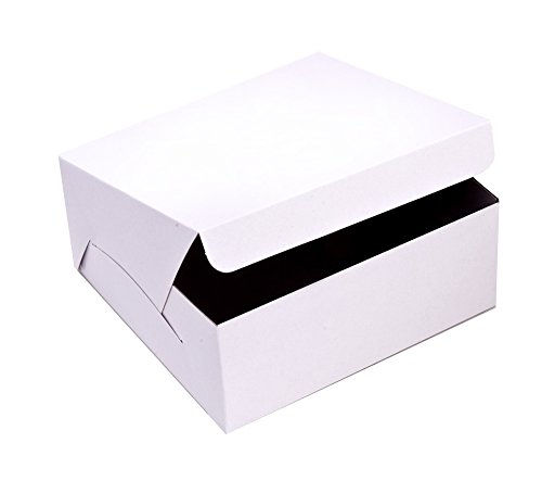 SafePro 774 7x7x4-Inch Cardboard Cake Boxes Take Out Disposable Paper Cake Pie Containers Wholesale White Bakery Box 100