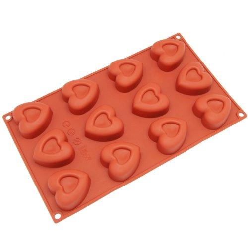 Freshware SM-110RD 12-Cavity Silicone Mini Valentine Heart Muffin Brownie Cornbread Cheesecake Pudding Jello Shot and Soap Mold