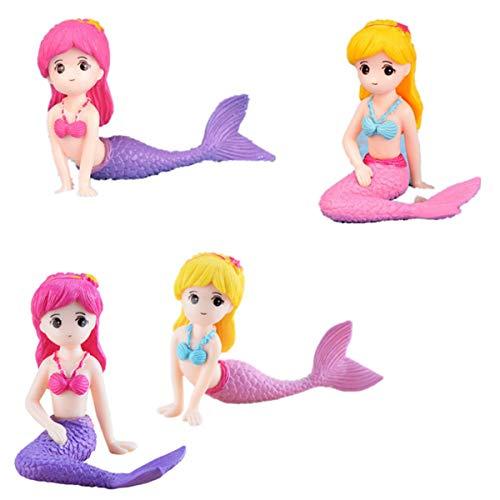 GHTERT 4 Pcs Miniature Mermaid Figurines Mermaid Doll Cake Toppers Mermaid Figure Collection Playset Birthday Cake Decoration