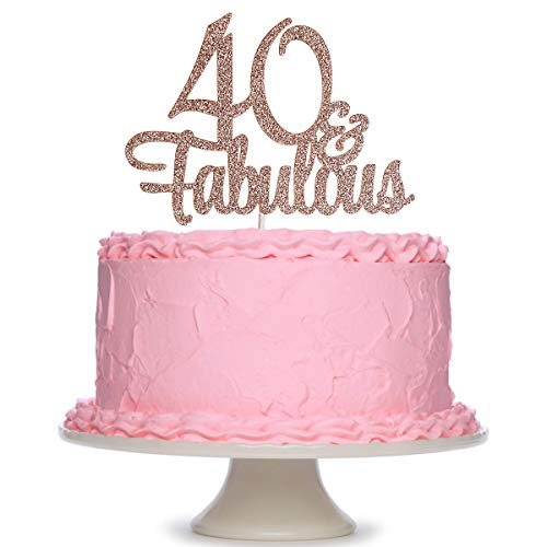 Rose Gold Glittery 40 Fabulous Birthday Cake Topper - 40th Birthday Party Decorations Birthday Cake Decorations Supplies