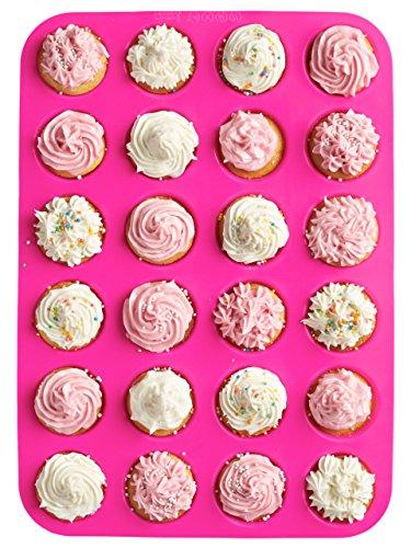 24 Cup Non Stick Premium Silicone Mold Mini Muffin Mini Cupcake PanSilicone Baking MoldMini Baking Cups