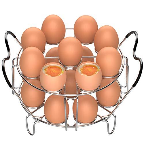 Egg Steamer Rack Veckle 2 Pack Stackable Instant Pot Egg Rack with Heat Resistant Silicon Handles for Instant Pot Accessories Pressure Cooker 6 8 Qt18 Eggs Stainless Steel Steamer Trivet Basket