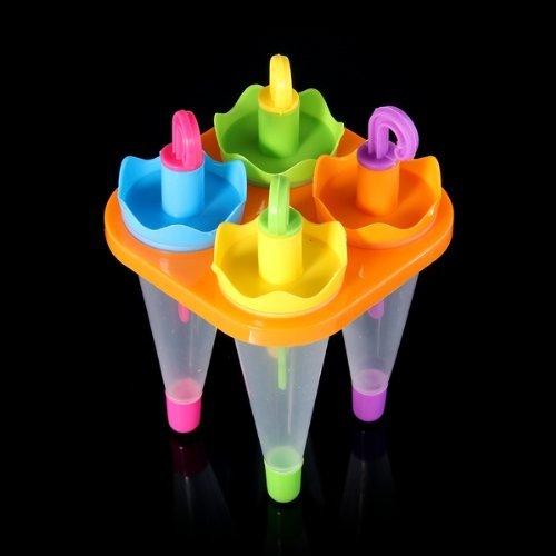SODIALR 4 X Umbrella 6 Cell Frozen Ice Cream Pop Mold Popsicle Maker Lolly Mould Tray