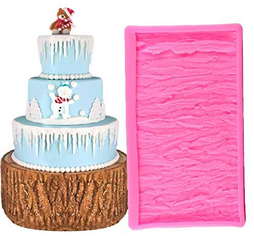 BUSOHA Tree Bark Texture Cake Fondant Mold Wood Bark Fondant Impression Mat Cake Border Decorating Chocolate Gumpaste Pastry Cake Mold