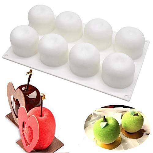 SAKOLLA Apple Shape Mousse Silicone Mold 8-Cavity Non stick Cake MoldFrench DessertPastry BakingChocolate Mold
