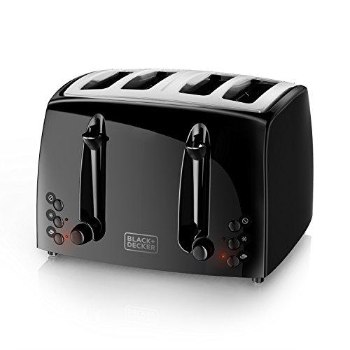BLACKDECKER 4-Slice Toaster Extra-Wide Black TR1410BD