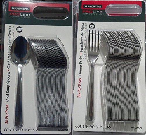36 Tramontina Proline Oval Soup Spoons  36 Dinner Forks Windsor Stainless Steel