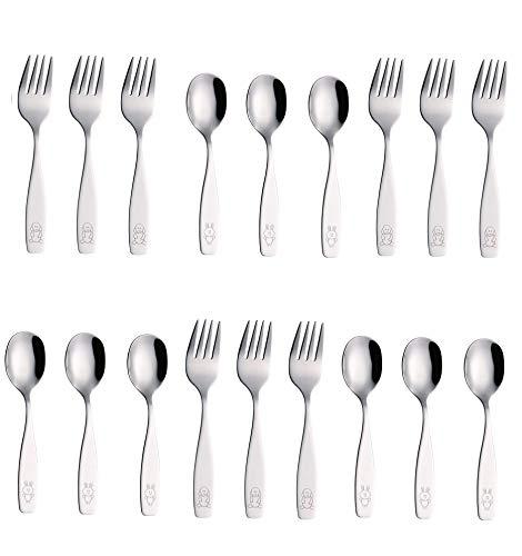 Exzact Stainless Steel 18 Pieces Childrens FlatwareKids SilverwareCutlery Set - 9 x Children Forks 9 x Children Dinner Spoons - Safe Toddler Utensils Engraved Dog BunnyWF850-S18FS