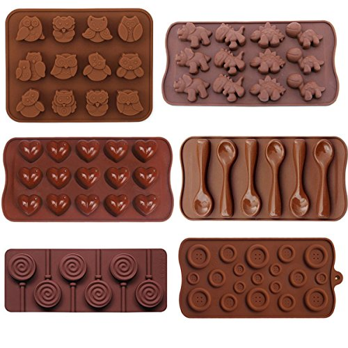 Buytra 6 Pack BPA Free Food Grade Silicone Mold for CandyChocolateIce Cube TraySoapCakeBakingJello and More Including OwlDinosaurHeartLollipopButtonSpoon