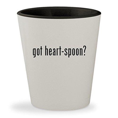 got heart-spoon - White Outer Black Inner Ceramic 15oz Shot Glass