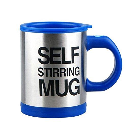 La Tartelette Self Stirring Coffee Mug Silver 118 oz Blue