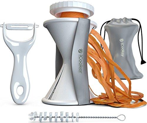 Spiral Slicer Vegetable Spiralizer + Free Cleaning Brush Peeler And Recipe Book - Veggie Cutter Zucchini Pasta