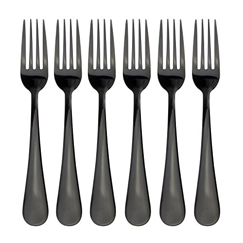 180 Flatware Black Titanium Coated Stainless Steel Dinner Fork Dessert Fork Set of 6 Pieces Cutlery Set Dinnerware