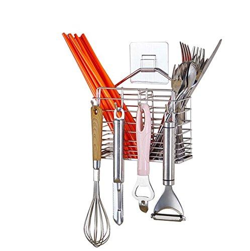 Self Adhesive Kitchen Utensils Drying Rack 304 Stainless Steel Square Spoon Knife Fork Case Sink Basket Rack Organizer Storage Stand Holder