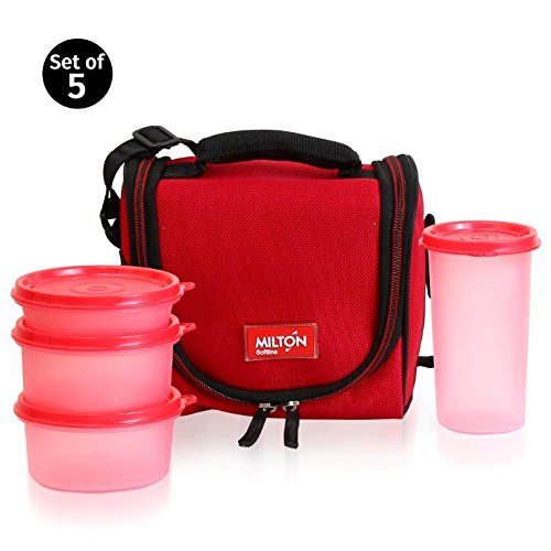 Milton LUNCH BAG ~ SET of 5 ~ Insulated Lunch Box With Reusable and Leak Proof Containers and Water Bottle Double Zipper Lunch Bag For Adults and Kids ~Great for School~ Red