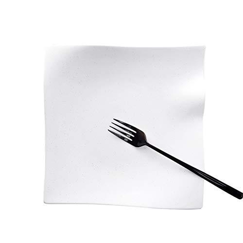 ACHKL Creative Japanese and Korean tableware Restaurant Hotel side dish salad fruit plate matte square black and white ceramic plate ACHKL Color  White Size  9 inch225X37CM