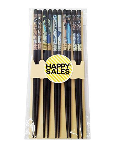 Happy Sales HSCH64S 5 pair Japanese Chopsticks Gift Set Scenery Blue