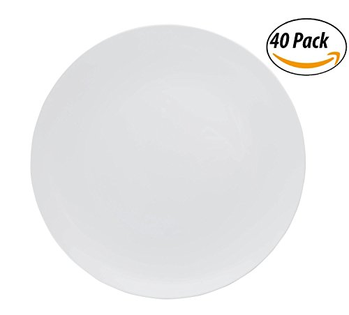 Trendables Premium 8 Inch Trend White Disposable Plastic Plates  Food Grade Plastic SaladDessert Plates - 40 Pack
