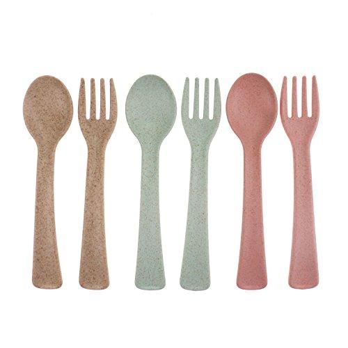 Travel Toddler Utensils Baby Training Forks Spoons Set of 6 for Kids Self Feeding BPA Free Plastic