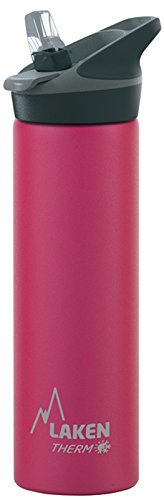 Laken Thermo Kids Vacuum Insulated Stainless Steel Leak Free Sports Water Bottle with Jannu Straw Cap 25 Oz Fuchsia