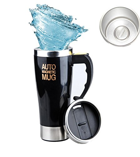 Mengshen AUTO Magnetic Mug - 450ml Double Layer Stainless Steel Self Stirring Magnet Coffee Cup for Travel Office A008M Black