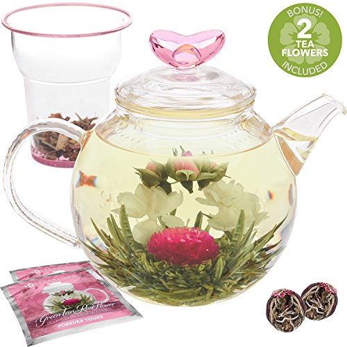 Teabloom Eternal Love Flowering Teapot – 36 oz Glass Teapot Heart-Topped Lid Glass Loose Leaf Tea Infuser 2 Blooming Teas - Thermal Shock Resistant - Stovetop Microwave Safe
