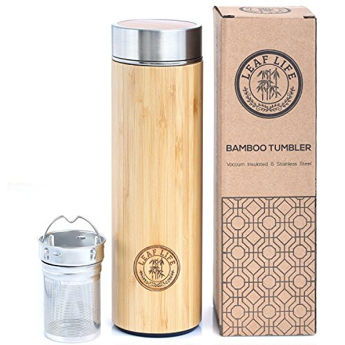 Bamboo Tumbler with Tea Infuser Strainer by LeafLife  17oz Stainless Steel Water Bottle  Vacuum Insulated Coffee Travel Mug  BPA-Free  Mesh Filter for Brewing Loose Leaf Fruit Infused