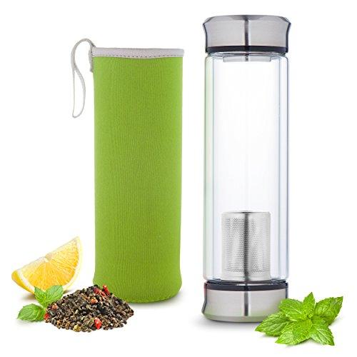 Hot or Cold Glass Tea Tumbler Infuser Bottle – Tea Travel Mug with Flavor Dispenser - Loose Leaf Tea Cup with Strainer Filter 400ml - Insulating Sleeve - Green