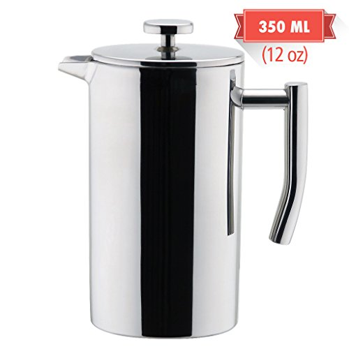 MIRA Stainless Steel French Press Coffee Maker  Double Walled Insulated Coffee Tea Brewer Pot Maker  Keeps Brewed Coffee or Tea Hot  12 Oz 350 ml