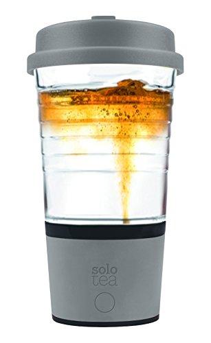 SoloTea French Design Smart Tea Brewer System with Premium 12 OZ Travel Mug 100 BPA Free Grey