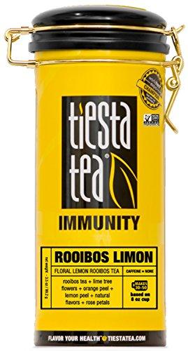 Floral Lemon Rooibos Tea  ROOIBOS LIMON 35 Ounce Tin by TIESTA TEA  Caffeine Free  Loose Leaf Herbal Tea Immunity Blend  Non-GMO