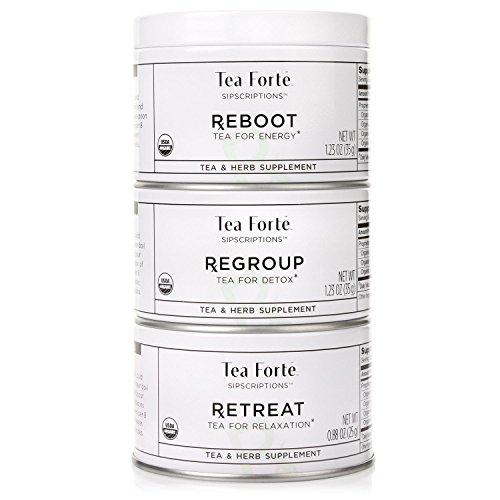 Tea Forté SIPSCRIPTIONS Organic Wellness Teas Trio 3 Small Tea Tins - REGROUP REBOOT RETREAT